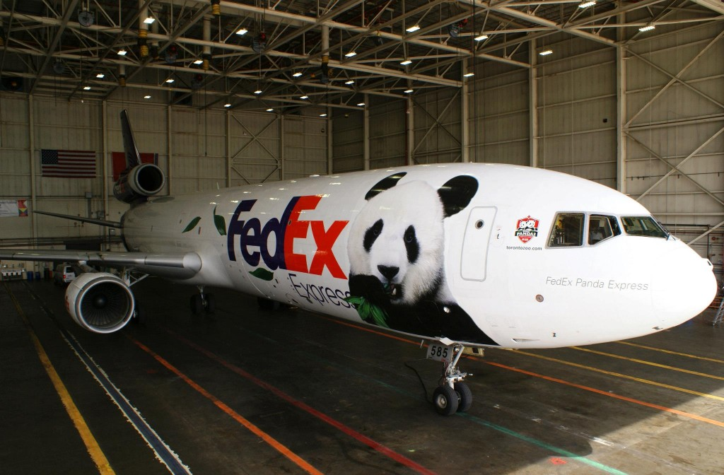Fed Ex's Panda Express plane where the giant pandas are being shipped. Photo from FedEx's facebook page