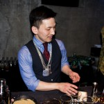 "Atsushi Suzuki, Kanji making his cocktail ""Mr. Redbean"""