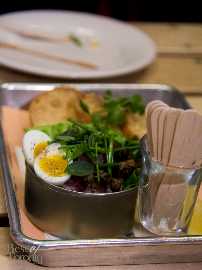 """Can o' Tuna"" Line Caught Ahi Tartare, Quail Egg, Herb Salad, Toast"