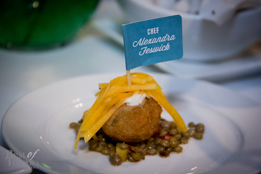 The Daily Bread winning dish of the Ultimate Food Challenge: Western Falafel with chick peas, spiced yogurt and lentils made by Alexandra Feswick of The Samuel J Moore (at The Great Hall)