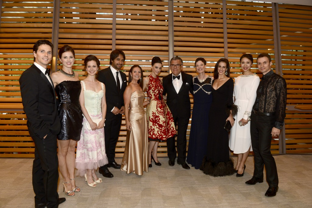 Principal Dancers Guillaume Côté, Heather Ogden and Jillian Vanstone, Jian Ghomeshi, Gala Co-Chair Bernice Royce, Greta Hodgkinson, Gala Co-Chair Victor Royce, Artistic Director Karen Kain, Sonia Rodriguez, Xiao Nan Yu and Aleskandar Antonijevic Photo: Gary Beechey