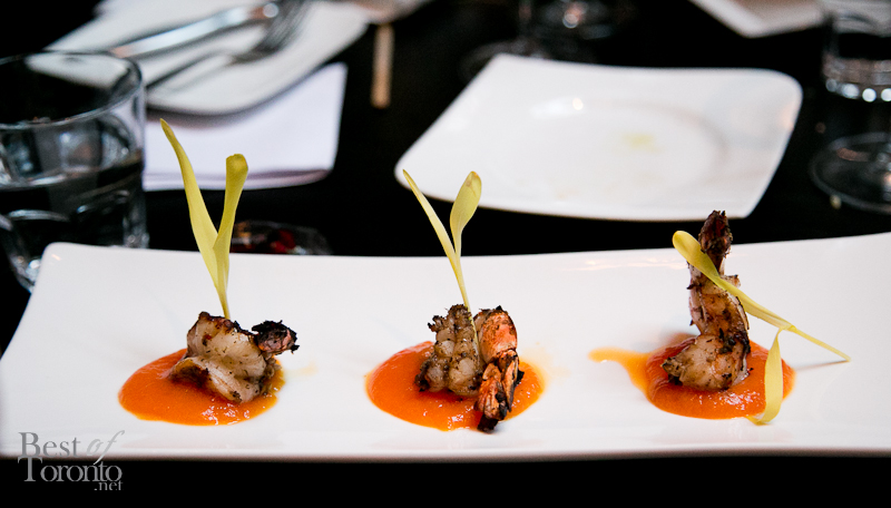 Jerk spiced tiger shrimp with ginger papaya compote