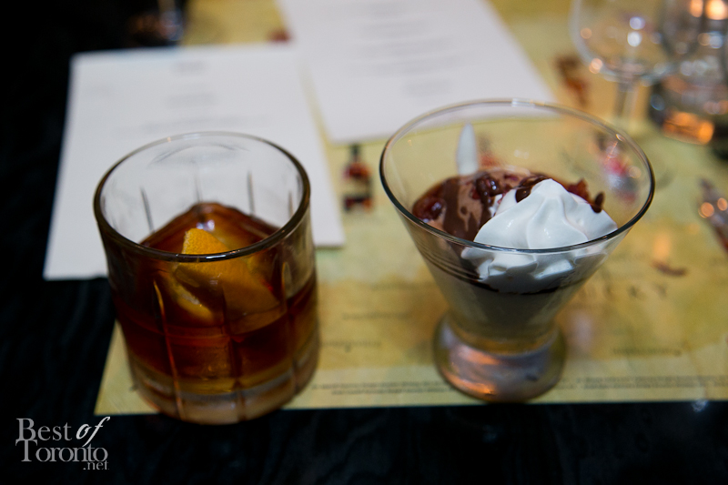 The lightest-bodied Jim Beam small-batch bourbon, Basil Hayden, paired with a Drake Sundae including milk chocolate ice cream, sour cherries with Booker's Chantilly topped with peanuts