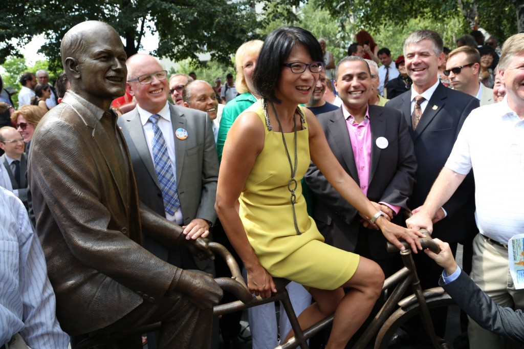 The unveiling of the Jack Layton statue with his widow, MP Olivia Chow
