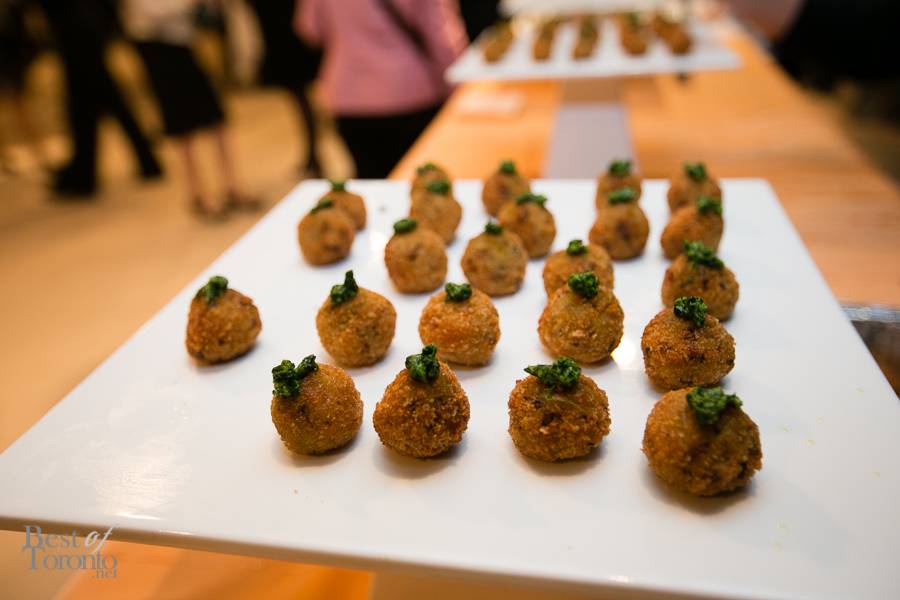 Truffle and blue cheese arancini with spinach walnut pesto - Nicole Rumball, All the Best Fine Foods