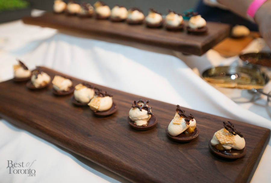 Valrhona Araguani chocolate tart, whipped dulcey ganache, sesame snap and caramelized banana - Lindsay Haddock, Scaramouche
