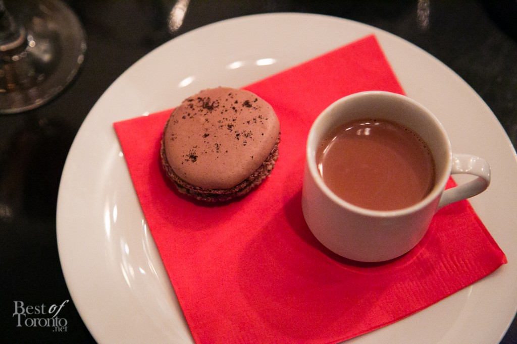 Chocolate macaron, bourbon and truffle honey hot milk chocolate