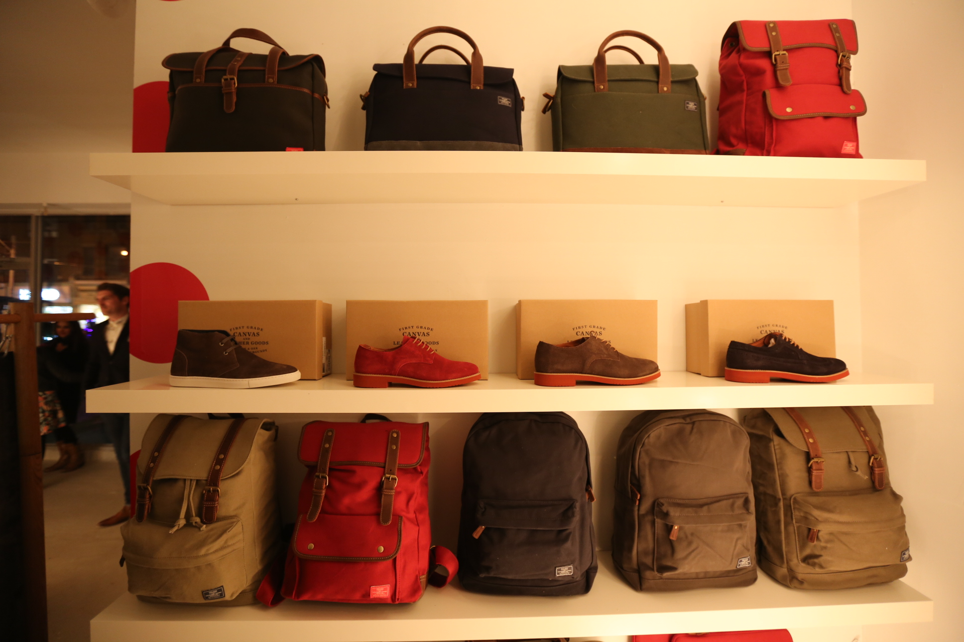Bags, shoes and backpacks at Frank and Oak's pop-up shop, The Outpost
