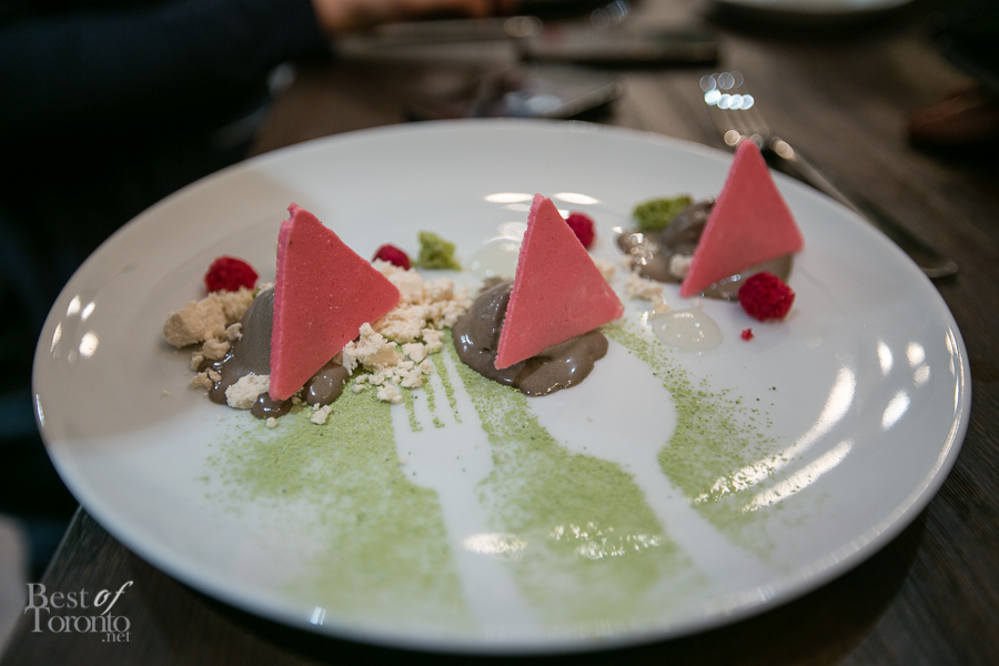 Black sesame, white sesame, yuzu, raspberry and matcha