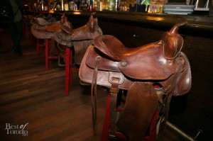 Bar stools with full-sized saddles