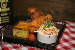 Jalapeño Corn Bread with cole slaw