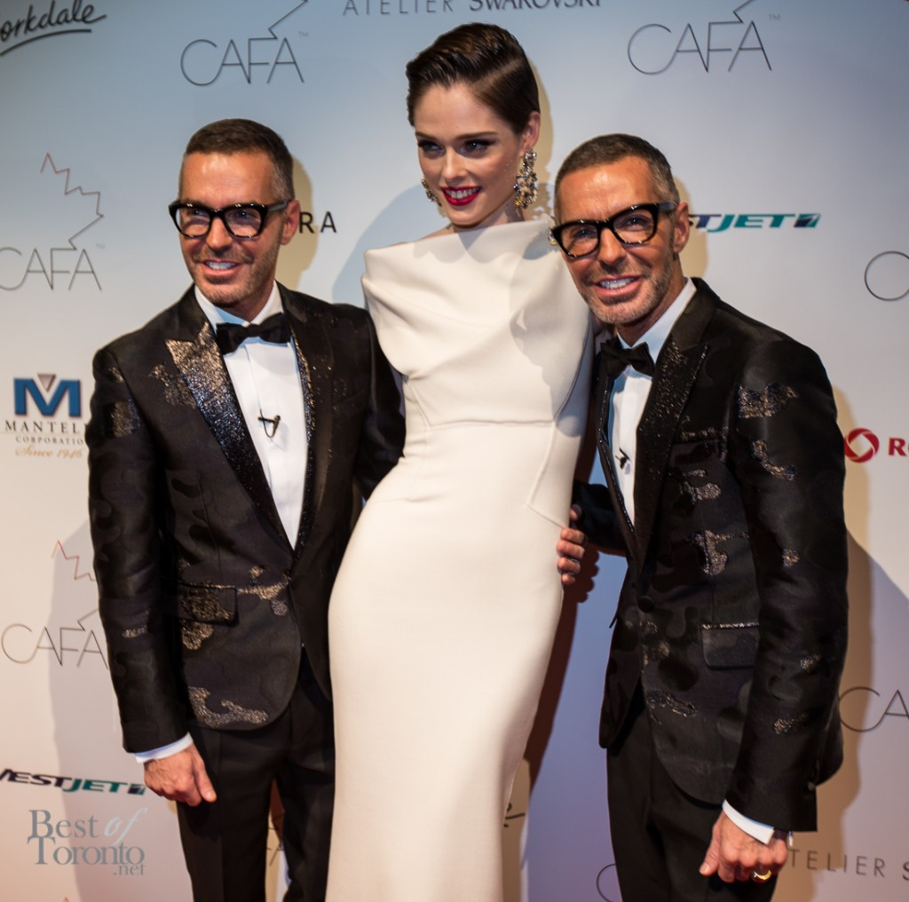 Coco Rocha wearing D Squared with Dan and Dean Caten of D Squared