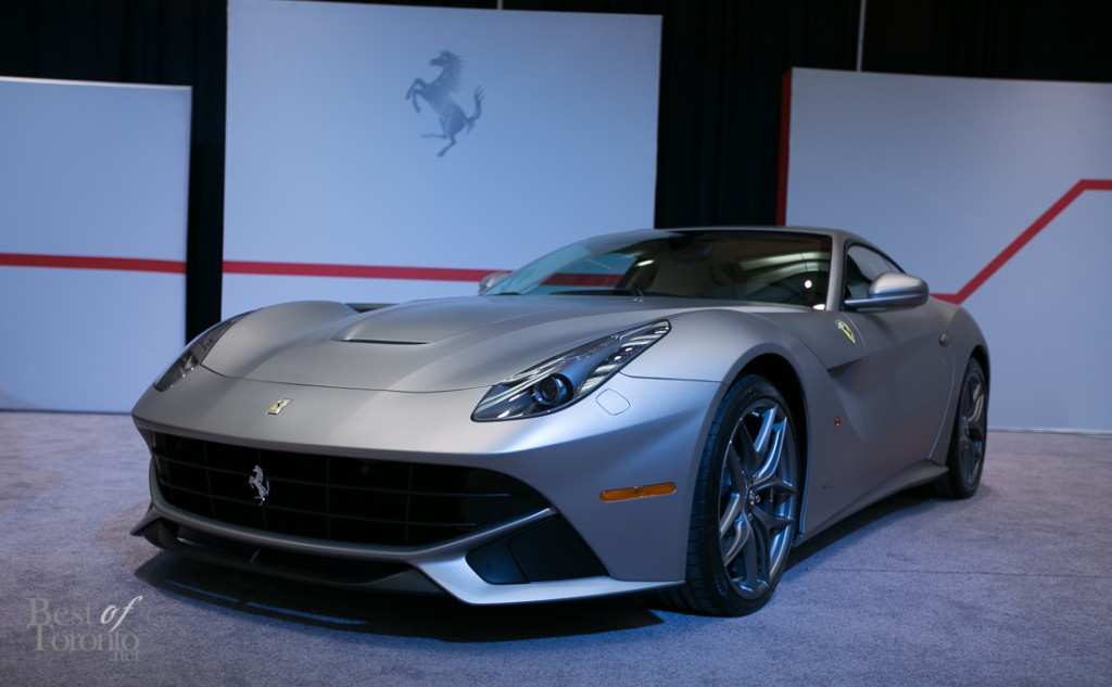 Ferrari F12 Berlinetta with a 6.3L V12 engine and aluminum body with matte finish