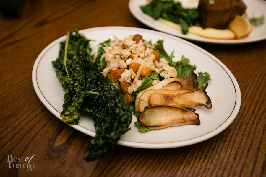 A warm butternut squash salad with crispy deep fried kale, and king oyster mushrooms. Loved this!
