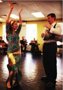 A dancer with a dumbek drummer at the SAWAH rehearsal   Photo: Nellie Chen