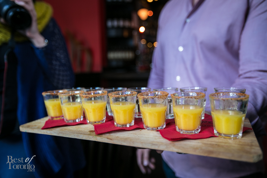 """In the back row we have shots of Milagrito """"Ven a Mi"""" Mezcal Reposado - it's a light, sweet, smoky mezcal with a light body and creaminess with an orange juice chaser. This really wakes up your tastebuds."""