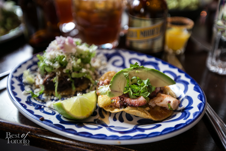 """Tostadita De Pulpo"" with crisp corn tortillas, tender octopus marinated in lime with tomatillo and chipotle chilies en adobo. To the left is the braised pork carnita ""Sope Plazero"""