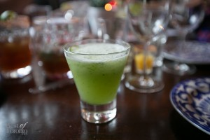 A refreshing cucumber margarita really hits the spot to wash down the heat from the spicy flavours