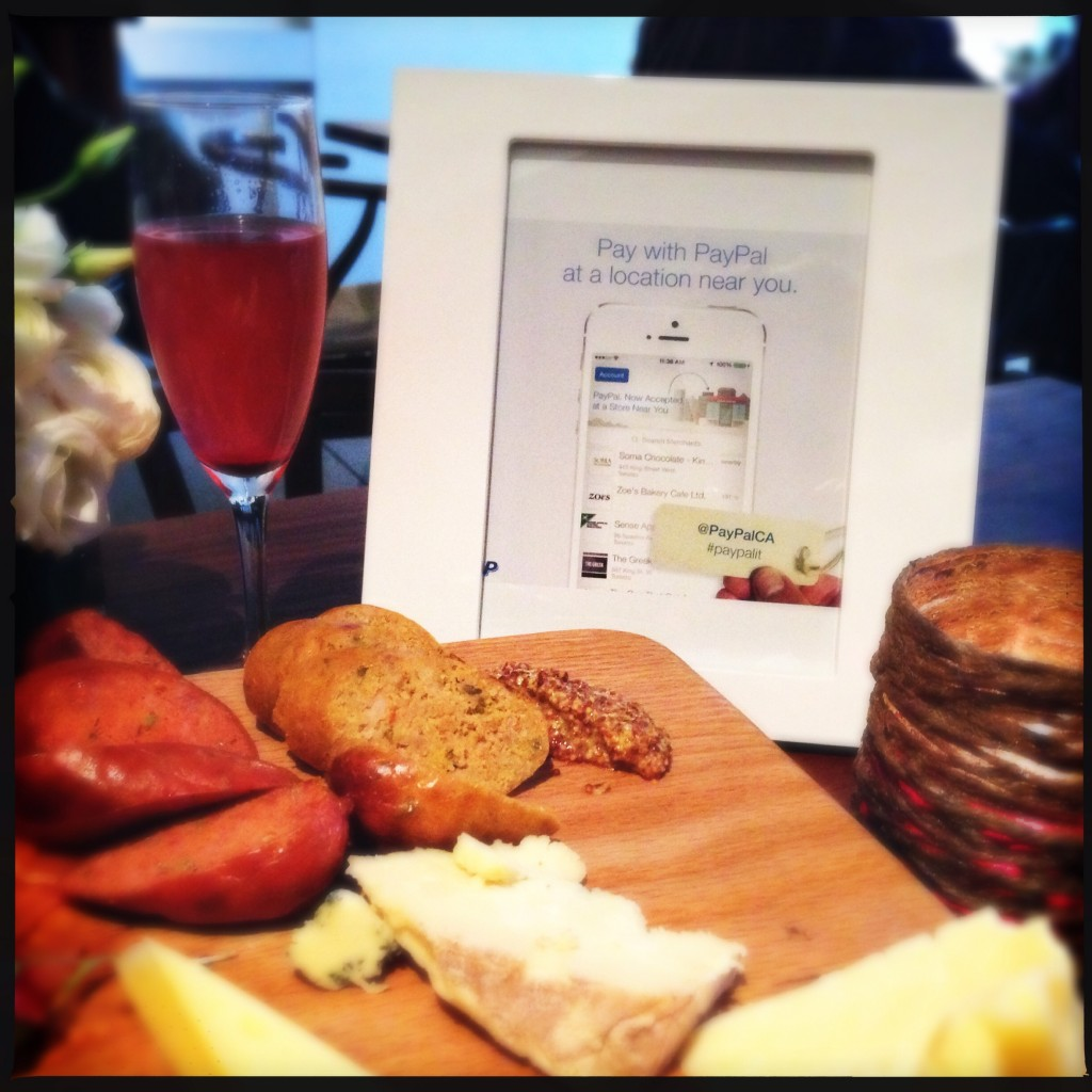 Charcuterie and cheese board, with blueberry mimosa, served at the PayPal Presentation, at Boehmer Restaurant