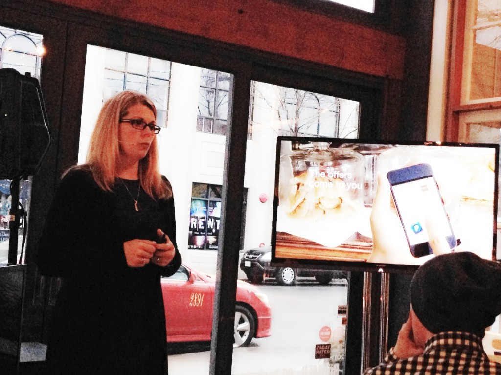 Kerry Reynolds, PayPal Canada Head of Consumer Marketing speaking to an audience at Boehmer Restaurant