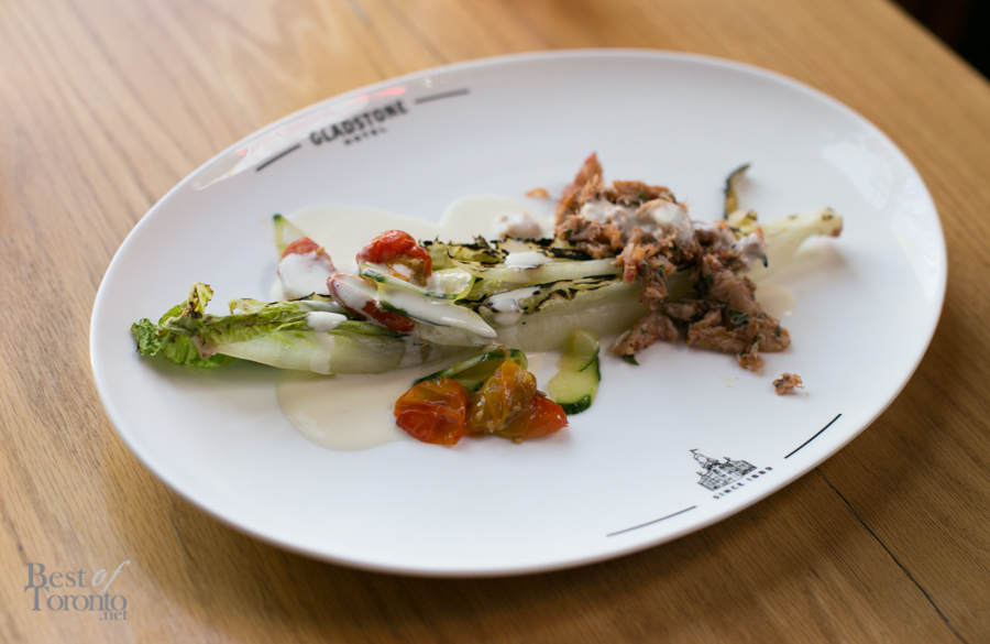 """""""Blue Crab Salad"""" with fennel-roasted tomatoes, coconut lime dressing on a charred romaine heart"""
