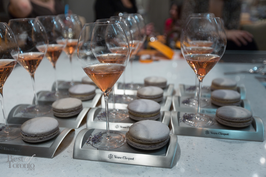 Delicious display of lavendar macarons with Veuve Clicquot Rose by La Societe's Chef Romain Avril