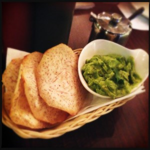 Taro chips and avocado dip