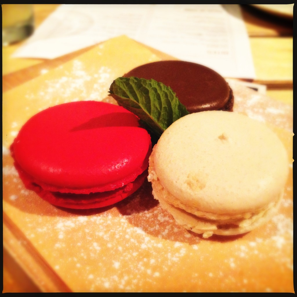 Housemade Macarons - cherry, root beer, and vanilla flavours