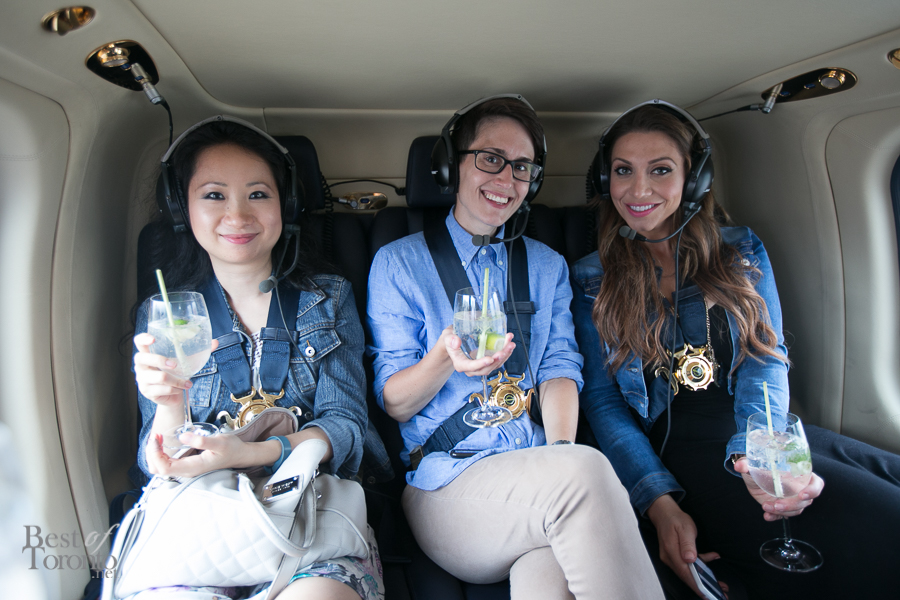 "Cheers to gin and tonic cocktails in a helicopter for an ultimate ""5 to 7"" experience"