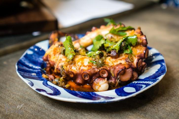 Grilled octopus, iberico chorizo, smoked tomato, olive oil, lemon