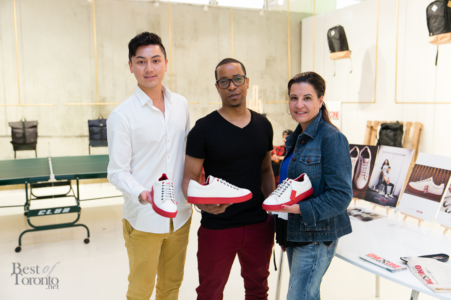 Henry Wong and George Sully (co-founders of Sully Wong Shoe Company) with Angie Camara (ONEXONE)