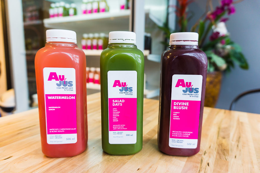 AuJus - YamChops' line of organic, raw, pressed juices
