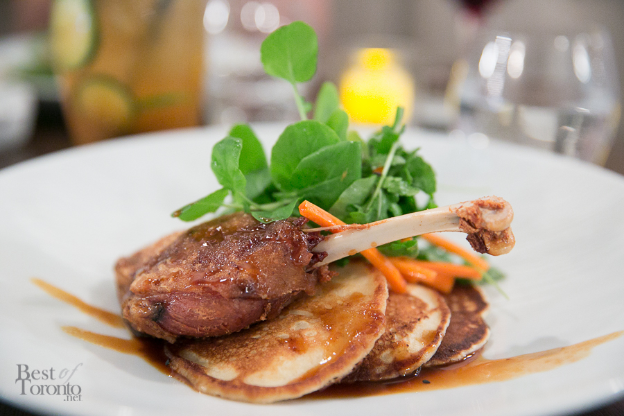 Crispy Duck Leg featuring confit Quebec Pekin, fluffy sourdough pancakes, pickled carrot & watercress, hoisin sauce