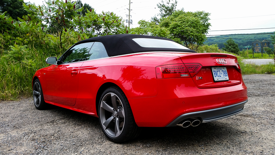 Audi S5 rear with dual exhaust. This piece of art looks good at every angle.  Photo taken with the Samsung Galaxy S5.
