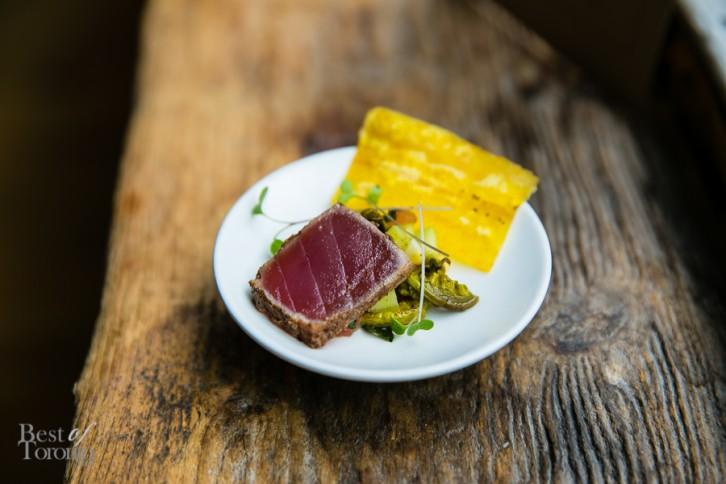 """""""Jerk Seared Ahi Tuna"""", Charred corn-compressed watermelon salad, crispy plantain"""