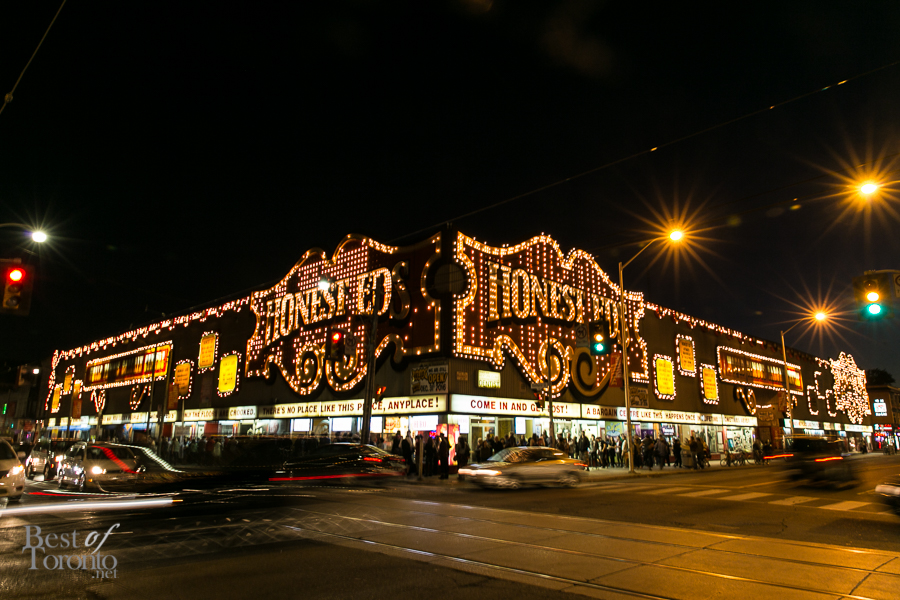The lineup around the block at Honest Ed's