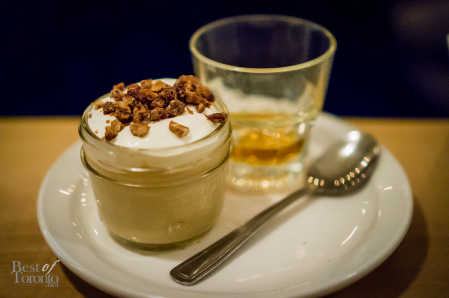 Knob Creek Smoked Maple and Vanilla-infused Pudding Topped with Candied Pecans, Knob Creek Smoked Maple | Photo: John Tan