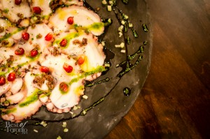 Carpaccio di Polipo - Octopus Carpaccio with Sea Urchin, Pomegranate and Lemon Juice | Photo: John Tan