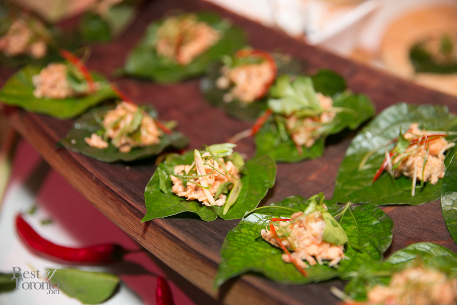Smoked Trout Betel Leaf with satay peanut sauce and fried shallots by Chef Nick Liu (DaiLo Restaurant)