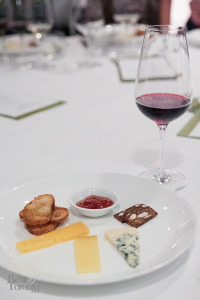 For dessert: Artisanal cheese with California apricot compote, Wisconsin buttermilk blue, Greenfield gouda, Pleasant Ridge cheddar. Paired with 2011 Edmeades Zinfandel, Mendocino