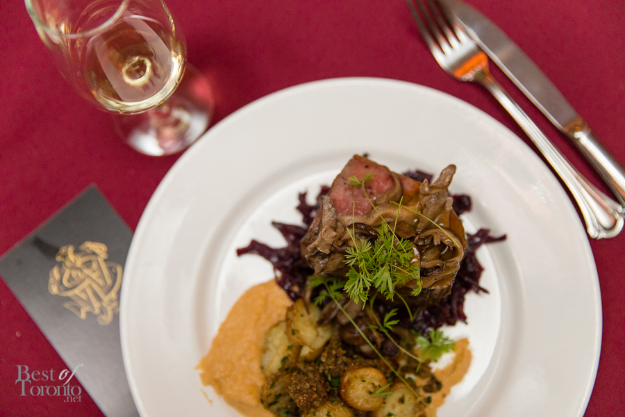 The main course: Haggis dinner with tenderloin, neeps and tatties, whisky cream and braised red cabbage. Paired with Johnnie Walker Blue Label.