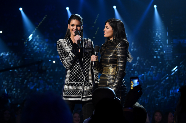 Kendall Jenner and Kylie Jenner on stage at the 2015 Billboard Music Awards at MGM Grand, Las Vegas, Nevada (Photo by Larry Busacca/BMA2015/Getty Images for dcp)