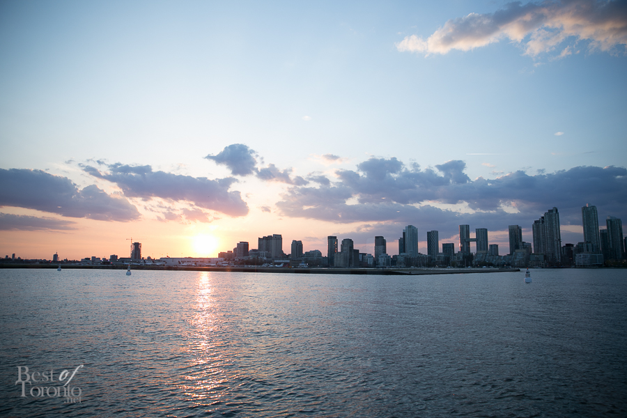 My sunset view of Billy Bishop Airport on a dinner cruise with Mariposa Cruises