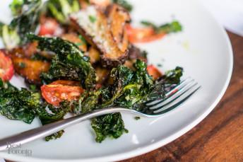 Crispy Eryngii Mushrooms, Emerald Kalettes, Garlic, Lemon, Herbs, Parmigiano and Sweet Chili Glaze