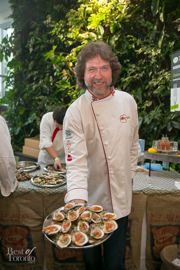 Chef Michael Smith with his Bloody Mary oysters