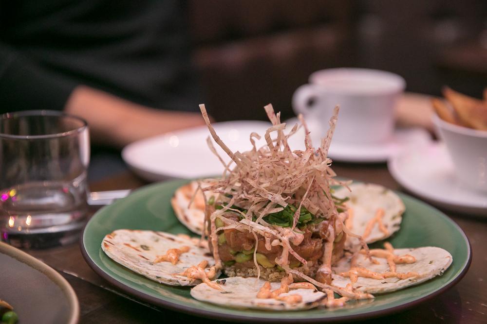 Tartare | USDA prime beef tenderloin, Remy Martin, quail egg, parmigiano churro