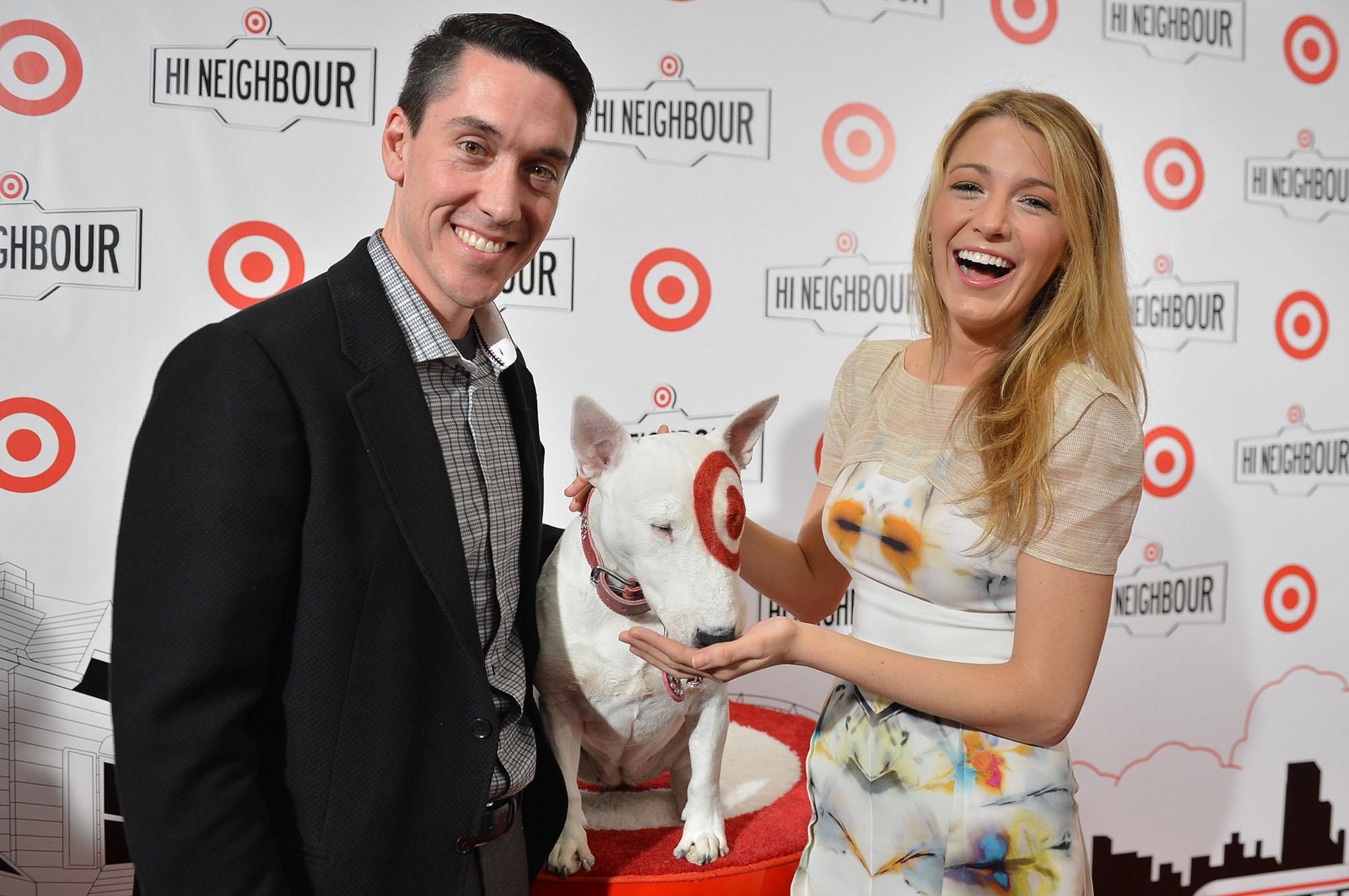 Tony Fisher, president, Target Canada, Bullseye Target's bull terrier mascot, Blake Lively | Photo: CNW Group/Target Canada
