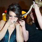 Ambur Braid sports a Medusa hairstyle as the boa snake gets tangled in her hair (photo: Ryan Emberley)