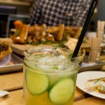 Cucumber margarita with casadores, cucumber, and basil