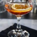 Chamomile Sazerac. Straight rye, cognac, peychaud's bitters, chamomile cube, absinthe, wormwood and lemon oils
